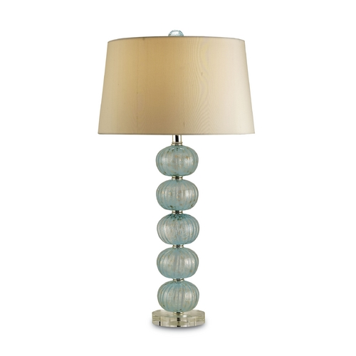 Currey and Company Lighting Modern Table Lamp with Beige / Cream Shade in Aqua Finish 6071