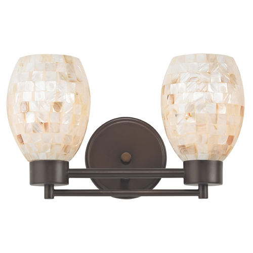 Design Classics Lighting Bathroom Light with Mosaic Glass in Bronze Finish 702-220 GL1034
