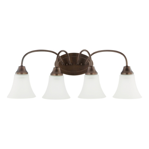 Sea Gull Lighting Bathroom Light with White Glass in Bell Metal Bronze Finish 44808-827