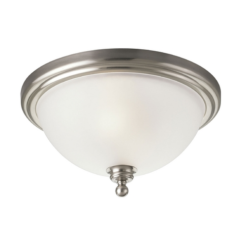 Progress Lighting Progress Flushmount Light with White Glass in Brushed Nickel Finish P3312-09
