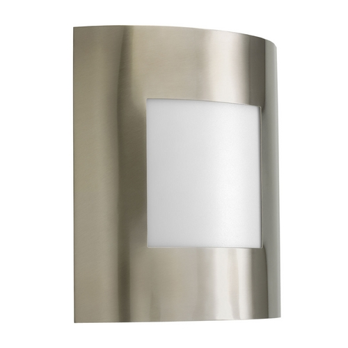 Progress Lighting Progress Modern Outdoor Wall Light with White in Brushed Nickel Finish P5736-09