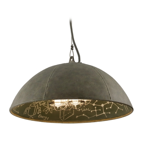 Troy Lighting Pendant Light in Salvage Zinc Exterior / Chalkboard Interior  Finish F3654