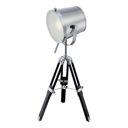 Lite Source Lighting Industrial Tripod Table Lamp in Chrome / Black Finish LS-22337