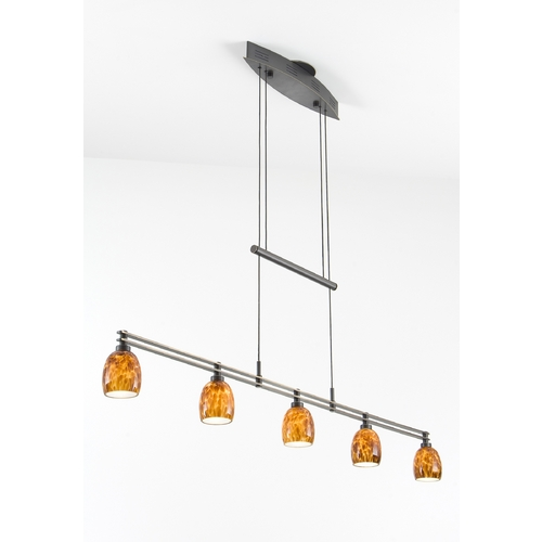 Holtkoetter Lighting Holtkoetter Modern Low Voltage Pendant Light with Amber Glass in Hand-Brushed Old Bronze Finish 5515 HBOB G5020