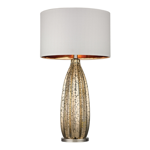 Dimond Lighting Table Lamp with White Shades in Antique Gold Mercury with Polished Nickel Finish D2533-LED