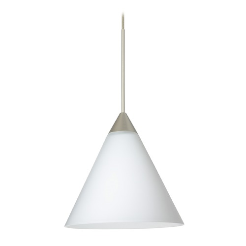 Besa Lighting Besa Lighting Kani Satin Nickel Mini-Pendant Light with Conical Shade 1XT-512107-SN
