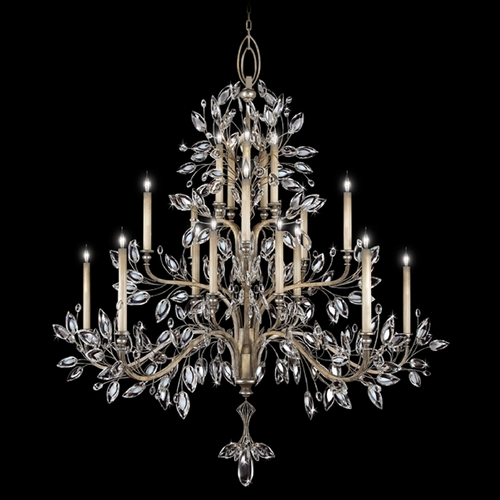 Fine Art Lamps Fine Art Lamps Crystal Laurel Antiqued Warm Silver Leaf Crystal Chandelier 771240ST
