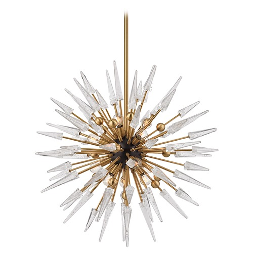 Hudson Valley Lighting Mid-Century Modern Chandelier Brass Sparta by Hudson Valley Lighting 9032-AGB