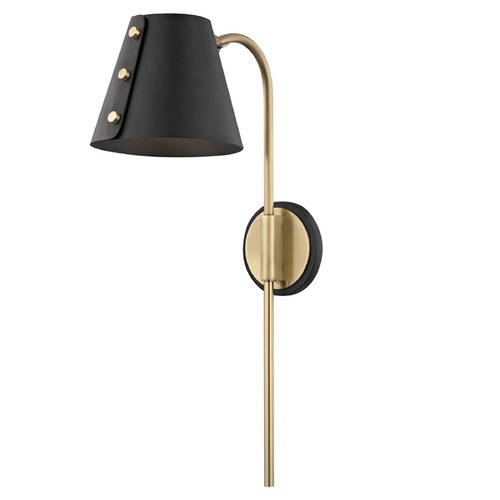 Mitzi by Hudson Valley Meta Mid-Century Modern Black and Brass Plug-In LED Sconce HL174201-AGB/BK