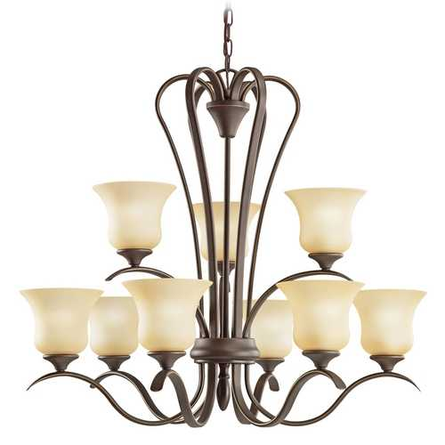 Kichler Lighting Kichler Chandelier with Beige / Cream Shades in Olde Bronze Finish 2086OZ