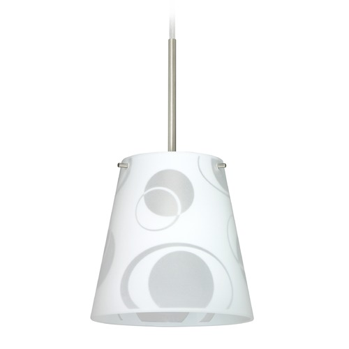 Besa Lighting Besa Lighting Amelia Satin Nickel Mini-Pendant Light with Conical Shade 1BT-4477CS-SN