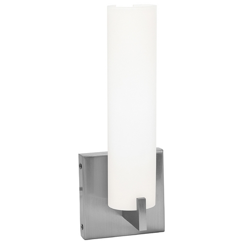 Access Lighting Modern Bathroom Light with White Glass in Brushed Steel Finish 50565-BS/OPL