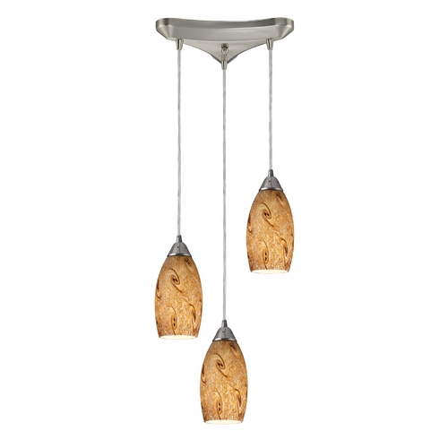 Elk Lighting Modern Multi-Light Pendant Light with Art Glass and 3-Lights 20001/3MG