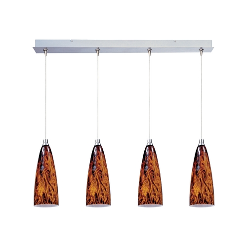 ET2 Lighting Modern Low Voltage Multi-Light Pendant Light with Amber Glass and 4-Lights E94943-102SN