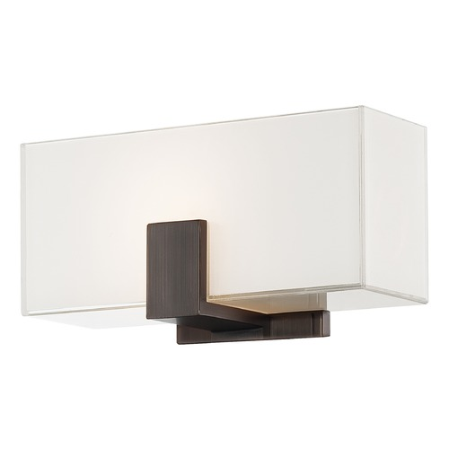 George Kovacs Lighting Modern Sconce Wall Light with White Glass in Copper Bronze Patina Finish P5220-647