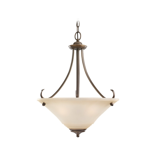 Sea Gull Lighting Pendant Light with Beige / Cream Glass in Russet Bronze Finish 65381-829