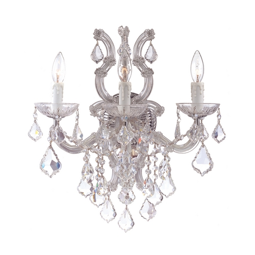 Crystorama Lighting Crystal Sconce Wall Light in Polished Chrome Finish 4433-CH-CL-MWP