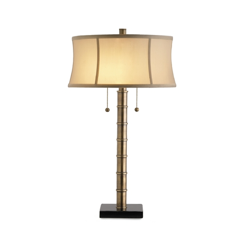 Currey and Company Lighting Table Lamp with Beige / Cream Shade in Antique Brass/black Finish 6068