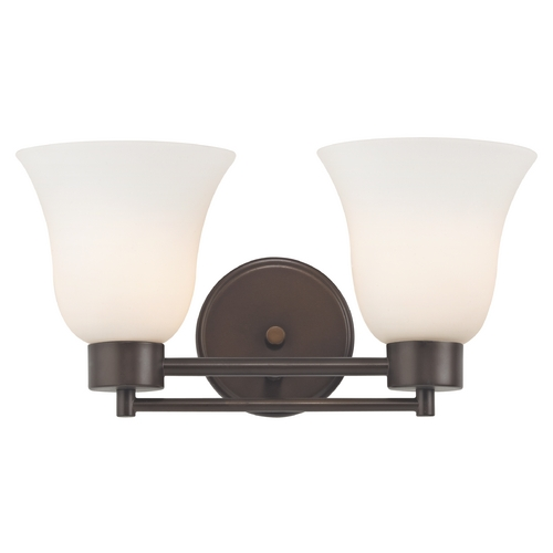 Design Classics Lighting Modern Bathroom Light with White Glass in Bronze Finish 702-220 GL9222-WH