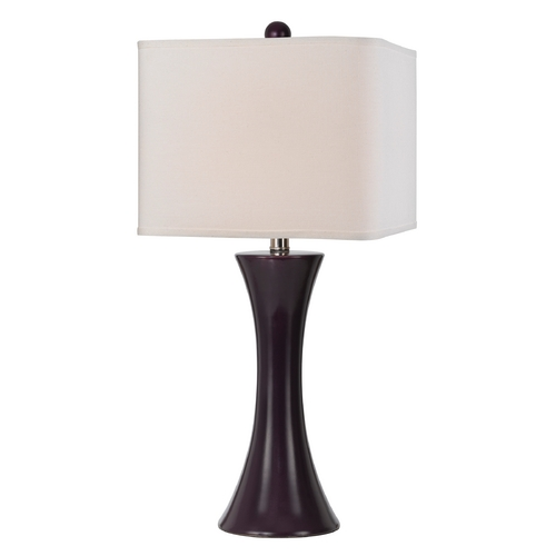 AF Lighting Modern Table Lamp with White Shade in Grape Finish 8555-TL
