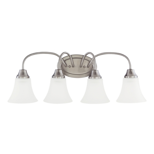 Sea Gull Lighting Bathroom Light with White Glass in Brushed Nickel Finish 44808-962
