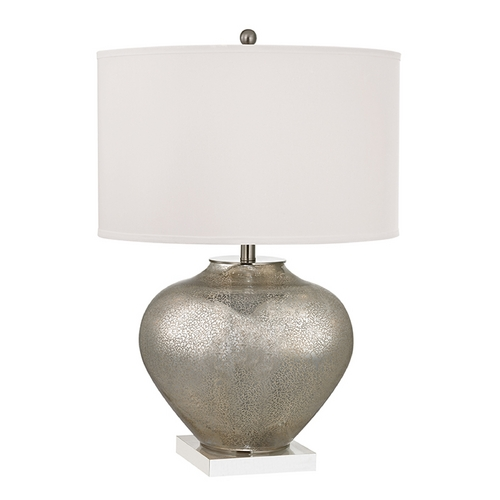 Dimond Lighting Table Lamp with White Shades in Antique Silver Mercury Glass with Crystal Finish D2544