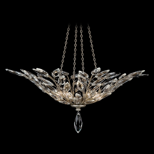 Fine Art Lamps Fine Art Lamps Crystal Laurel Antiqued Warm Silver Leaf Pendant Light 753640ST