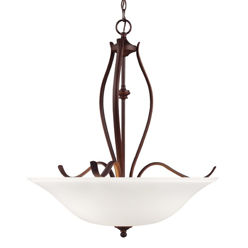 Feiss Lighting Feiss Lighting Standish Oil Rubbed Bronze with Highlights Pendant Light with Bowl / Dome Shade F3004/3ORBH