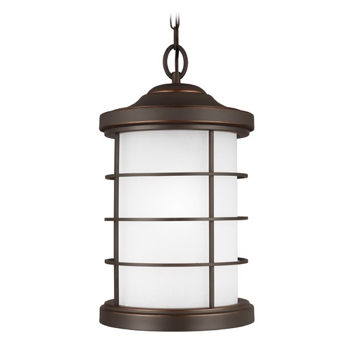 Sea Gull Lighting Etched Seeded Glass Outdoor Hanging Light Bronze Sea Gull Lighting 6224451-71