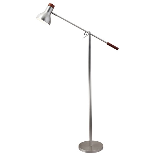 Adesso Home Lighting Mid-Century Modern Swing Arm Lamp Brushed Steel W. Dark Wood Watson by Adesso Home Lighting 4254-22