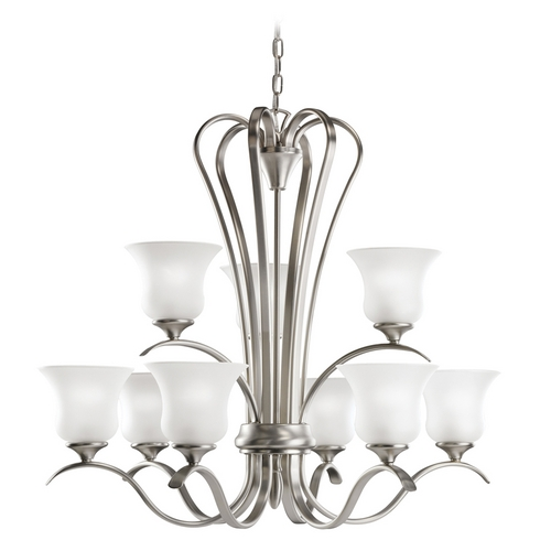 Kichler Lighting Kichler Chandelier with White Glass in Brushed Nickel Finish 2086NI