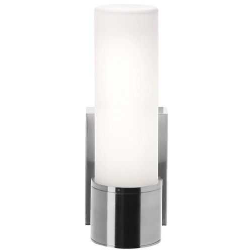 Access Lighting Modern Sconce with White Glass in Brushed Steel Finish 50566-BS/OPL