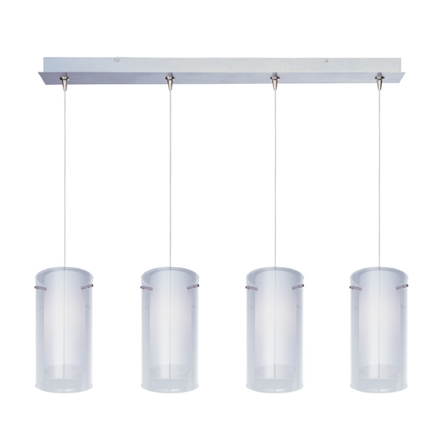 ET2 Lighting Modern Low Voltage Multi-Light Pendant Light with White Glass and 4-Lights E94944-10SN