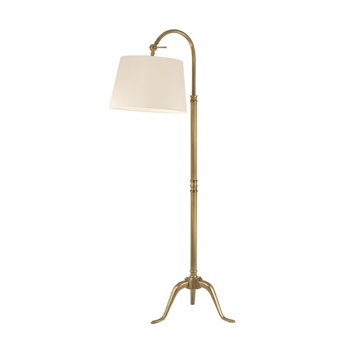 Hudson Valley Lighting Floor Lamp with Beige / Cream Paper Shade in Vintage Brass Finish L605-VB