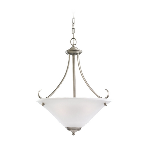 Sea Gull Lighting Pendant Light with White Glass in Antique Brushed Nickel Finish 65381-965