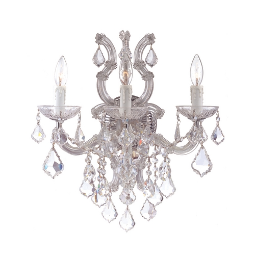 Crystorama Lighting Crystal Sconce Wall Light in Polished Chrome Finish 4433-CH-CL-S