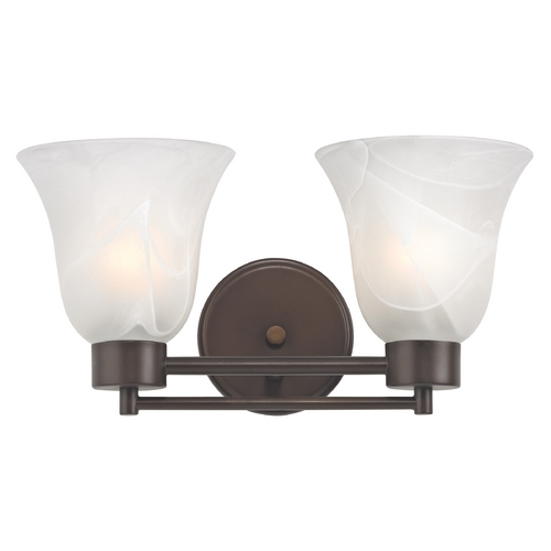 Design Classics Lighting Modern Bathroom Light with Alabaster Glass in Bronze Finish 702-220 GL9222-ALB
