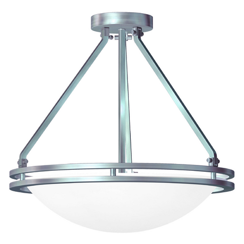 Access Lighting Access Lighting Aztec Brushed Steel Semi-Flushmount Light 20460GU-BS/WHT