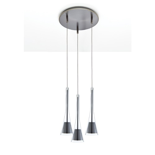 Holtkoetter Lighting Holtkoetter Lighting Lichtstar System Satin Nickel Multi-Light Pendant with Conical Shade C8310 G5770 SN