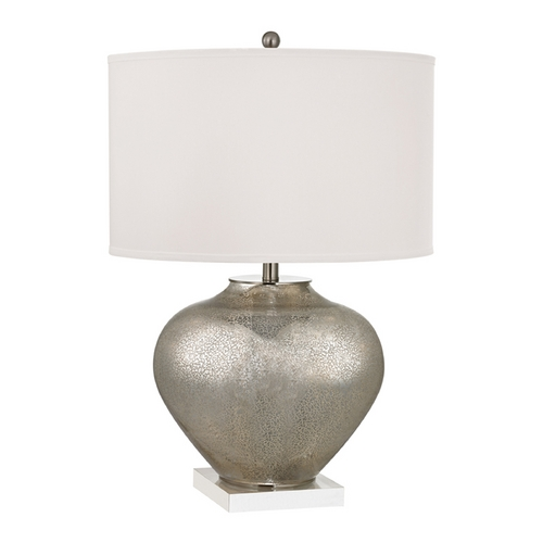 Dimond Lighting Table Lamp with White Shades in Antique Silver Mercury Glass with Crystal Finish D2544-LED