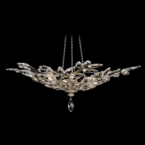 Fine Art Lamps Fine Art Lamps Crystal Laurel Antiqued Warm Silver Leaf Pendant Light 753740ST