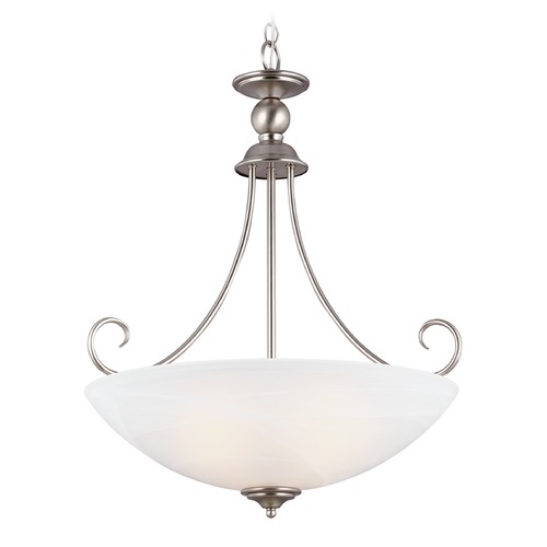 Sea Gull Lighting Sea Gull Lighting Lemont Antique Brushed Nickel Pendant Light with Bowl / Dome Shade 66316-965