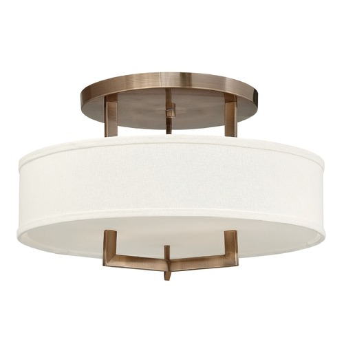 Hinkley Lighting Hinkley Lighting Hampton Brushed Bronze Semi-Flushmount Light 3201BR-GU24