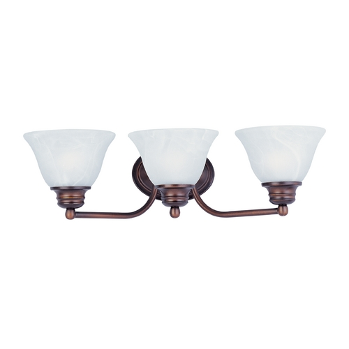 Maxim Lighting Bathroom Light with Alabaster Glass Shades in Oil Rubbed Bronze Finish 2688MROI