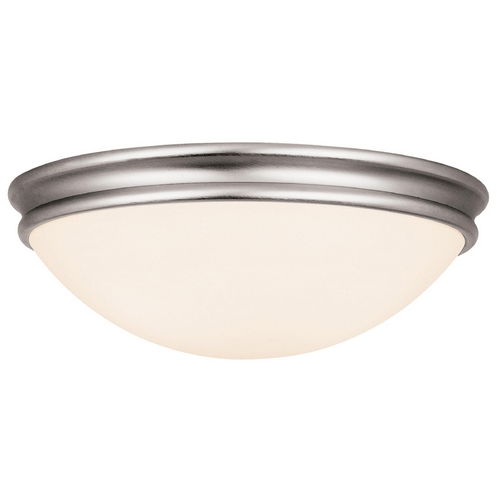 Access Lighting Modern Flushmount Light with White Glass in Brushed Steel Finish 20725-BS/OPL
