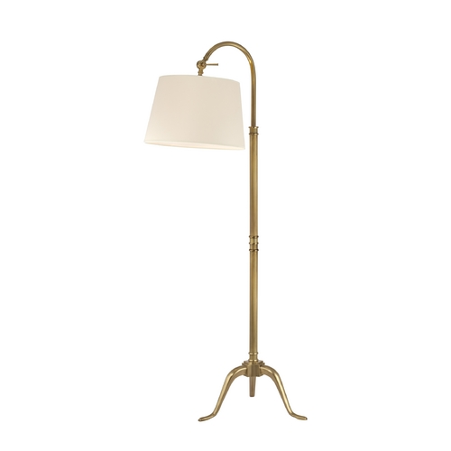 Hudson Valley Lighting Floor Lamp with White Shade in Vintage Brass Finish L605-VB-WS