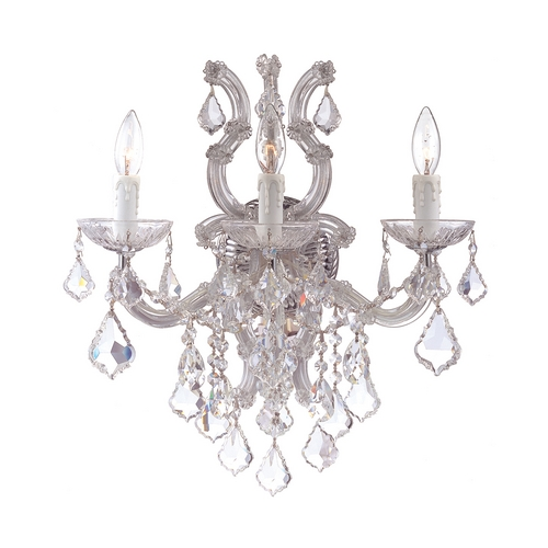 Crystorama Lighting Crystal Sconce Wall Light in Polished Chrome Finish 4433-CH-CL-SAQ
