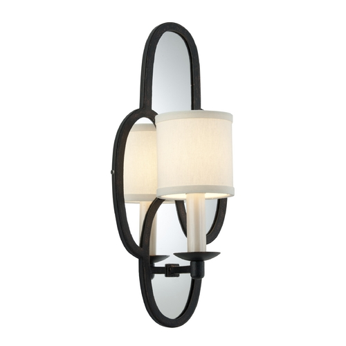 Troy Lighting Sconce Wall Light with White Shade in Charred Copper Finish B3471