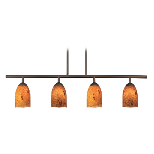 Design Classics Lighting Modern Linear Pendant Light with 4-Lights and Brown Art Glass in Bronze Finish 718-220 GL1001D