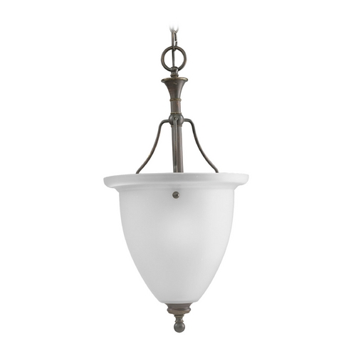 Progress Lighting Progress Pendant Light with White Glass in Antique Bronze Finish P3793-20